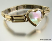 Sweetheart Expansion Bracelet with Mother of Pearl Heart Made in Japan
