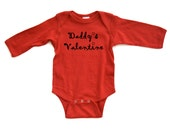 "Super Cute ""Daddy's Valentine"" Valentine's Day Adorable Baby Long Sleeve Bodysuit"