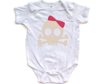 Adorable Cute Soft Cotton Short Sleeve Bodysuit with Pirate Princess Skull Design For Your Little Punk Rocker Great Baby Gift Idea