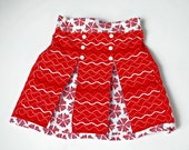 Girls Red White and Blue Sailor Skirt, Toddler Skirts, Little Girls Clothing, Red, blue, Nautical Skirt, 4th of July, size 2 3 4 5 6 7 8