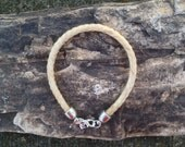 7 Inch White Horse Hair Braided Horsehair Bracelet - 6MM Round Braid