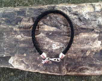 6 Inch Black Horse Hair Braided Horsehair Bracelet - 6MM Round Braid