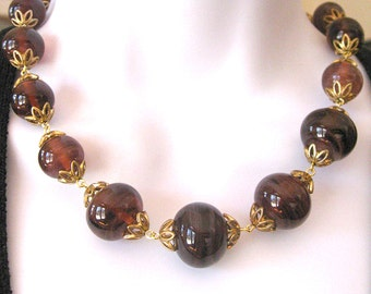 Vintage Purple Glass Necklace Bubble Gum Size Beads
