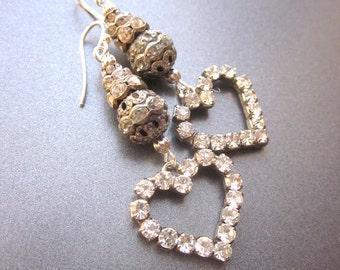 Rhinestone Heart Dangle Earrings Wedding Jewelry