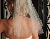 Velo de novia - velo de perla, velo corto, perlas de Swarovski dispersos, vestido - blanco, Diamond White, marfil