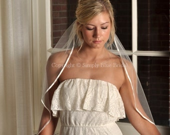 Veils - Cascade Ribbon Veil, Satin Ribbon Bridal Veil - White, Diamond White, Light Ivory, Ivory, Blush