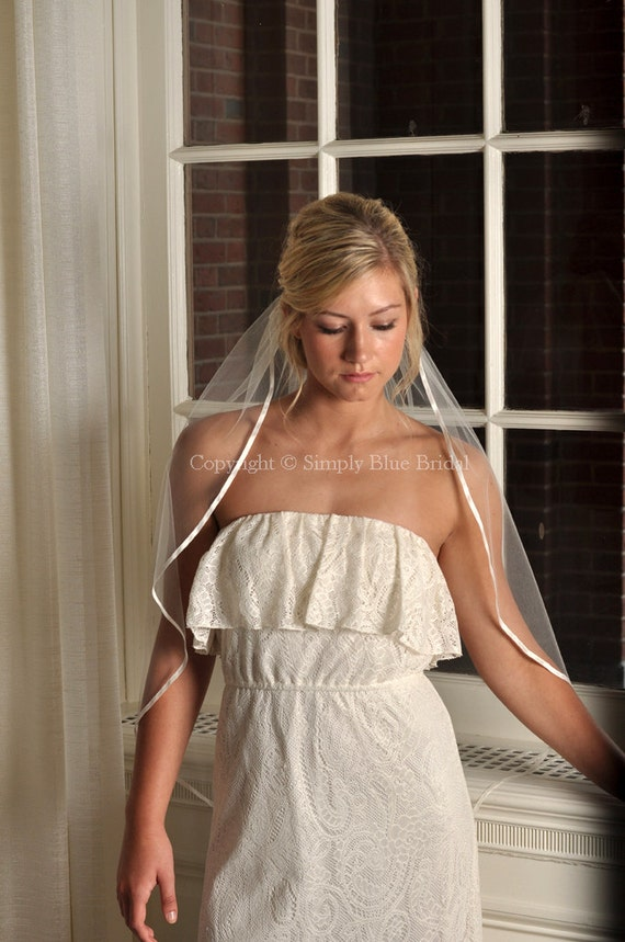 Veils - Cascade Ribbon Veil, Satin Ribbon Bridal Veil - White, Diamond White, Light Ivory, Ivory, Blush