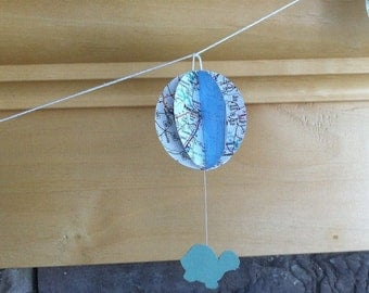 hot air balloon and turtle garland; hot air balloons from vintage maps
