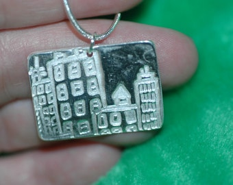 Fine Silver City Skyline Necklace , PMC Fine Silver City Lights Necklace , Pure Silver Necklace