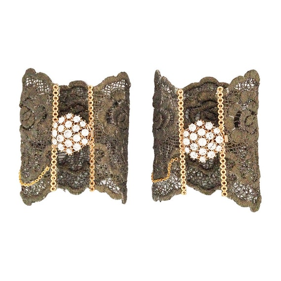 Lace bracelet, bronze lace cuff with rhinestone brooch. Cocktail bracelet