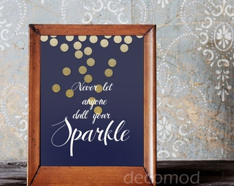8X10 Navy and Gold Sparkle Art Instant Digital Download Printable