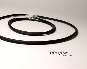 Black Rubber Collar, Rubber Necklace, Rubber Cord, Sterling Silver