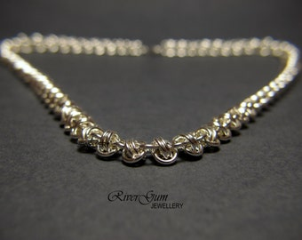 Chainmaille Necklace, Barrel Weave, Argentium Silver, Heavy Silver Chain, Made to Order, Handmade by RiverGum Jewellery