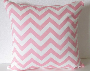 Pillow Cover - Pink - White - Chevron - Zig Zag - Baby Pink - Accent - Cushion Cover
