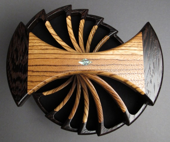Jewelry Box with Secret Compartments, Wenge and Zebrawood, 'The Helical Box'