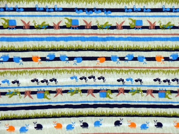 Kids cotton knit fabric bugs insects nature fabric for Childrens cotton fabric by the yard