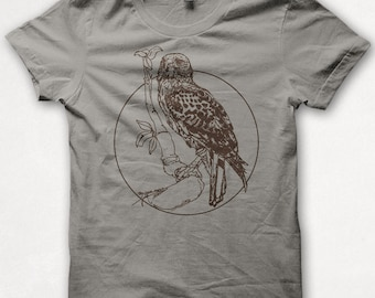Mens TShirt Redtailed Hawk Bird Shirt Screenprint Graphic Tee - Concrete