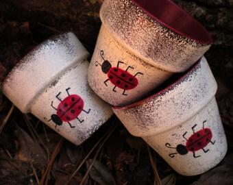 Ladybug Flower Pots - Painted Flower Pots - Set of Three - Succulent Planters - Herb Planters