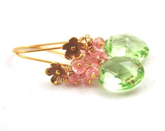 Spring Green Quartz and Mystic Pink Topaz Dangle Earrings . Gold Wire Wrapped Earrings . Pink and Green Preppy Jewelry