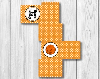 Printable FAVOR BOX - Instant Download - Square Printable Basketball Favor Box - DIY Thank You Favor Box - Basketball Birthday - Team Party