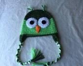 toddler 3T owl hat green boy girl unisex handmade gift idea for children kids babies christmas bird animal character