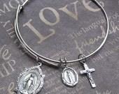 Silver Bangle Bracelet Virgin Mary Crucifix Charm Bracelet Catholic Bangle Adjustable Bracelet TheEnchantedLocket Gift