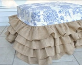 Burlap Ruffled Ottoman with Blue Toile