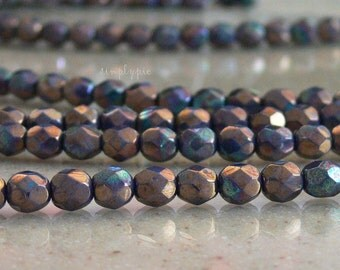 Oxidized Titanium, Czech Beads Fire Polished 6mm 25 Faceted Round GLass