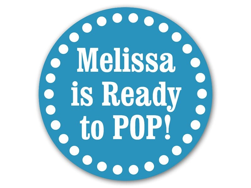 personalized baby shower favor stickers ready to pop