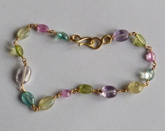 18 k yellow gold bracelet with 15 prescious stones: IMPORTANT, French vat is included,off 20% for US and canadian buyers