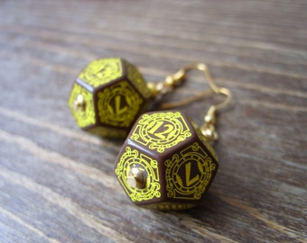 D12 steampunk dice earrings dice jewelry dnd dungeons and dragons toothed bar steam punk dice jewelry dice earrings pathfinder