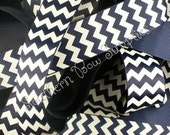 NEW----1 inch wide Grosgrain Ribbon----5 Yards----Navy Blue and White----CHEVRON---USA Designer