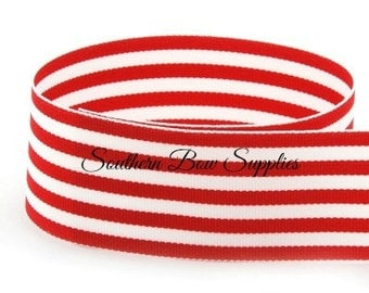 2 1/4 inch Grosgrain Ribbon---3 Yards---Small Stripes---Red White---Hair Bow Making Supplies