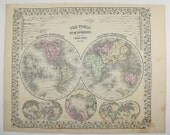 1871 Hemisphere Map Vintage World Map, Northern Hemisphere Southern Hemisphere 1871 Mitchell Map, Office Decor Art Gift, Antique Map World