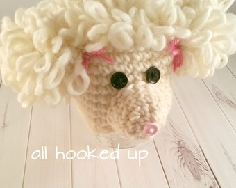 Crochet Puppy Hat, Crochet Dog Hat, Baby Girl Costume Outfit, Baby Animal Hat, Puppy Photo Prop, Crochet Animal Ears, Puppy Dog hat