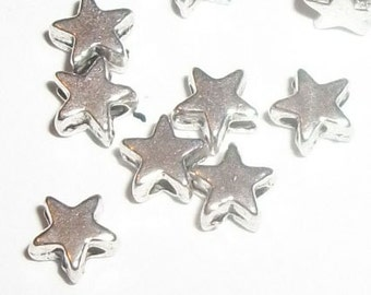 Antique silver plated star spacer beads 6x6mm star shaped spacer beads -- 100 pieces  (6054AS)