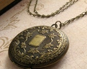 Antiqued Locket Necklace Long Locket Pendant Photo Locket Wedding Gift Personalized Locket Boho Locket