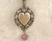 Heart Necklace Lace Heart Pendant Victorian Heart Pink Rhinestone Flower Art Deco Mothers Day Gift - Scarlett