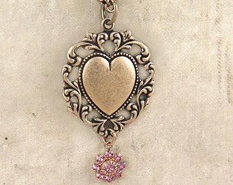 Heart Necklace, Lace Heart Pendant, Victorian Heart, Pink Rhinestone Flower, Mothers Day Gift