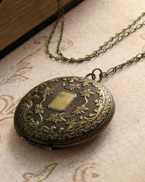 Antiqued Locket Necklace Long Locket Pendant Photo Locket Wedding Gift Personalized Locket Boho Locket