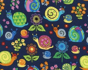 1 yard - Snails Organic in Navy, Organic cotton, Timeless treasures Fabrics