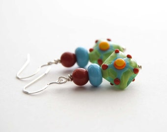 Funky Earrings, Colorful Earrings, Diamond Shaped Earrings, Beaded Earrings, Abstract Design