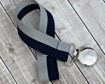Baby Boy Pacifier Clip- Navy Blue & Gray- Paci Clip- Baby Shower- Baby Shower Gift