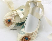Peacock Flats, Teal, Blue, Green, Ivory, Champagne, Ballet Flats, Peacock Wedding, Shoes, Flats, Flower Girl, Ballerina Slippers, Elegant