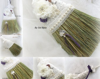 wedding broom bridal broom jumping the broom in ivory and purple with