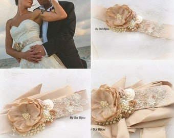 Wedding Sash, Champagne, Tan, Beige, Cream, Gold, Ivory, Vintage Style, Wedding Reception, Elegant, Bridal Sash, Crystals, Pearls