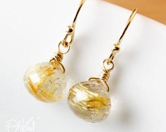 Golden Rutile Quartz Earrings - Mini Earrings - 14K Gold Filled
