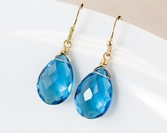 Swiss Blue Quartz Teardrop Earrings - Gold or Silver - Blue Birthstone