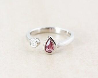 Teardrop Pink Tourmaline Dual Ring - Round Diamond - Sterling Silver