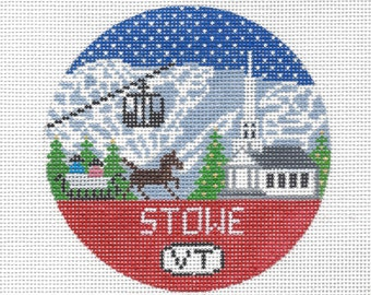 Stowe Vermont Needlepoint Christmas Ornament